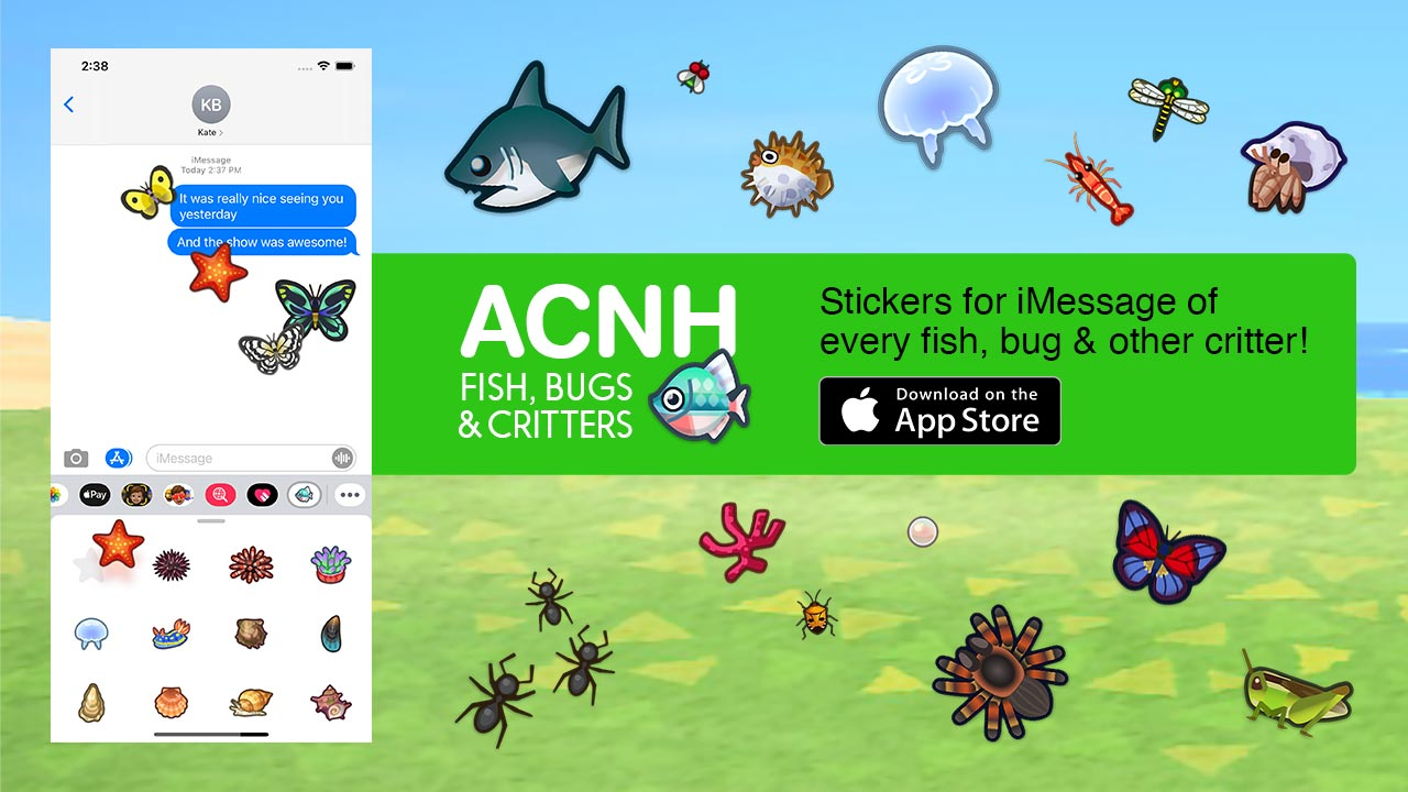(ACNH Fish, Bugs & Critters — Stickers for iMessage)
