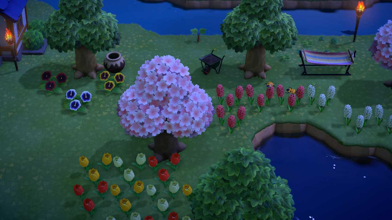 (Animal Crossing NH Flowers at Night Image)